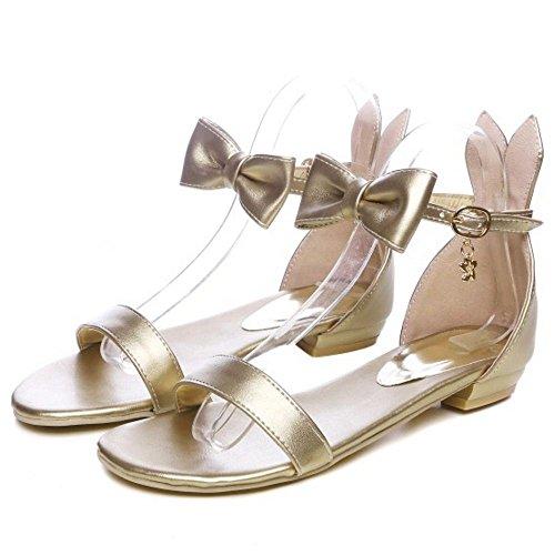 Flats Gold TAOFFEN Sandals Women Ankle Strap Rg6XXYrIq