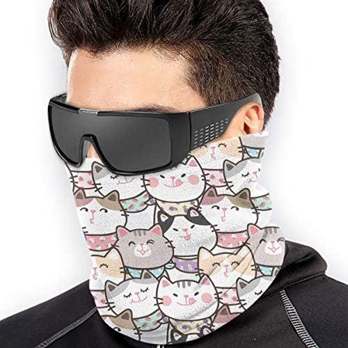 Cute Cartoon Cat ネックガード 伸縮 通気性 バンダナ 紫外線対策グッズ フェイスガード 多機能 マジックスカーフ