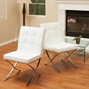 Amazon Com Christopher Knight Home Milania White Leather
