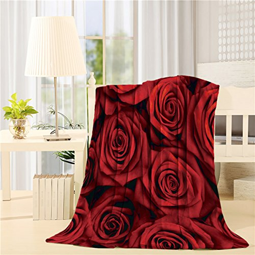 SIGOUYI Lightweight Flannel Fleece Blankets Reversible Throw Cozy Plush Microfiber All-Season Blanket for Bed/Couch - Throw 40x50 Inch, Valentines Red Roses (Rose Fleece Blanket)