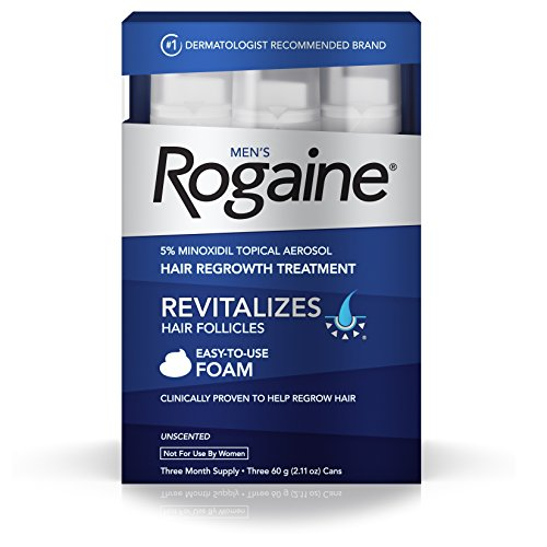 Men's Rogaine Hair Loss & Hair Thinning Treatment Minoxidil Foam, Three Month Supply