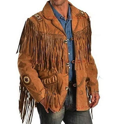 (Men's Traditional Cowboy Western Leather Jacket Coat with Fringe (Large) Brown )