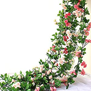 HEJIAYI Artificial Rose Flower Garland for Decoration Fake Rose Flower Vines for Wedding Fake Silk Flower Garland for Weddings, Home, Office, Party 89