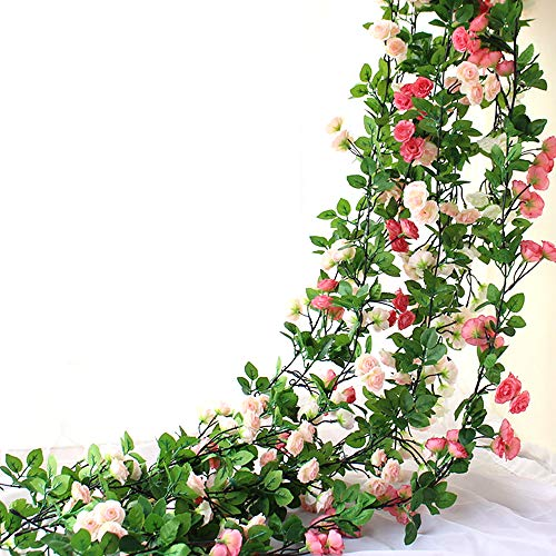 Y's Spring Blossoms 63 Inch Rose Garland Artificial Rose Vine with Green Leaves Flower Garland For Home Wedding Decor Pack of 3 (White)