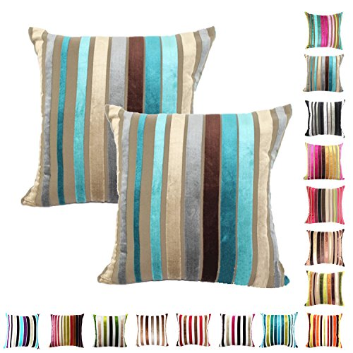 Queenie® - 2 Pcs Chenille Stripe Decorative Pillowcase Cush