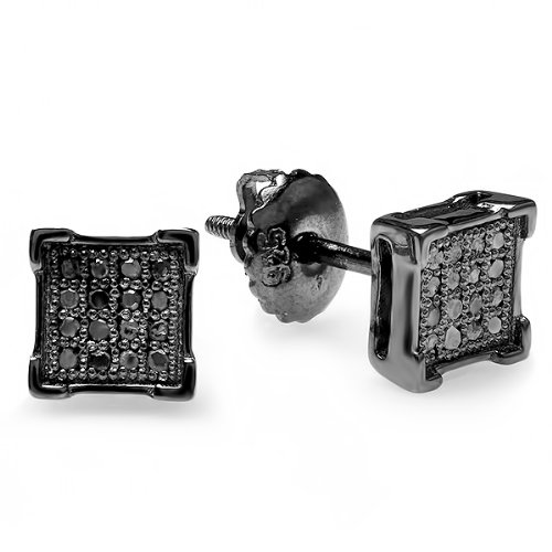Diamond Square Mens Ring (0.10 Carat (ctw) Sterling Silver Black Rhodium Plated Round Diamond V-Prong Square Shape Mens Hip Hop Iced Stud Earrings 1/10 CT)