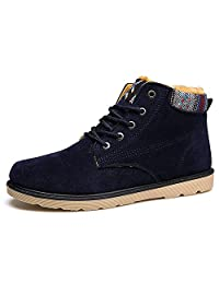 Nyngei Men's Blue Casual Lace-up Thick Ankle-high Warm Snow Boots Rubber Sole