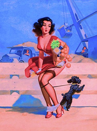 A SLICE IN TIME 1940s Pin-Up Girl All Tangled up with My Poodle Puppy Dog Vintage Picture Poster Print Art Pin Up. Measures 10 x 13.5 inches