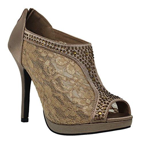 Dinner Balance (MVE Shoes Women's Lace Bridal High Heel Platform Peep Toe Shootie - Satin Lace Open Toe Cover Dress Pump - Lace High Heel Shootie with Flatback Crystals Brown 11)