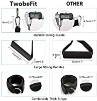 Exercise Bands with Handles Physical Workout Tubes Ankle Straps and Workout Guide Attached- for Resistance Training TwobeFit Resistance Bands Set Home Workouts Door Anchor