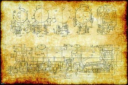 Amazon.com: Retro Vintage Steam Locomotive Train Engineering ... on crane schematics, machine schematics, electrical schematics, space schematics, computer schematics, forklift schematics, vehicle schematics, motorcycle schematics, clock schematics,