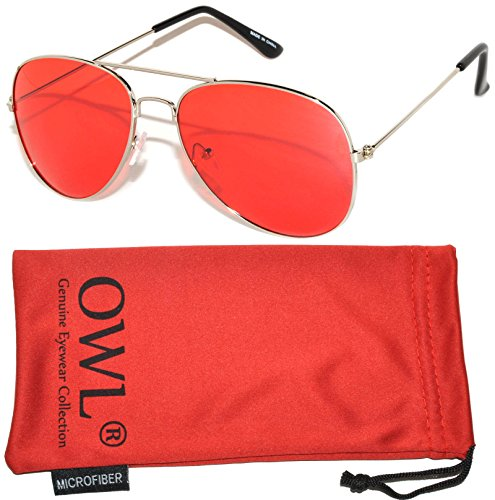 Classic Aviator Style Sunglasses Silver Metal Frame Red - Aviator Sunglasses Red