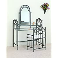 Coaster Home Furnishings  Traditional 3 Piece Metal Vanity Table Stool Mirror Set - Pewter / Ivory Fabric