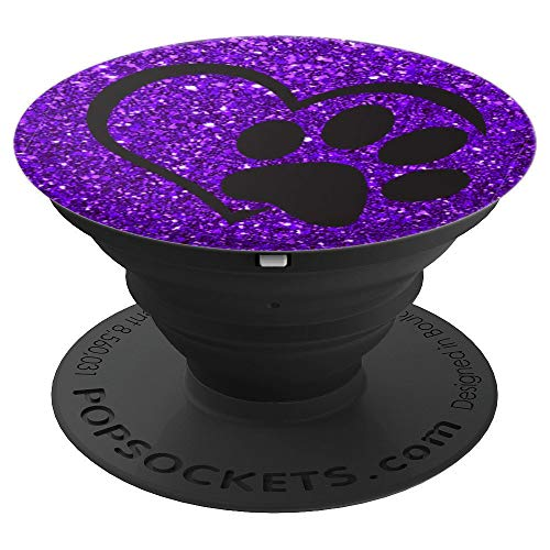 Purple, Paw Print Heart sparkle, Cat Paw, Dog Paw - PopSockets Grip and Stand for Phones and Tablets