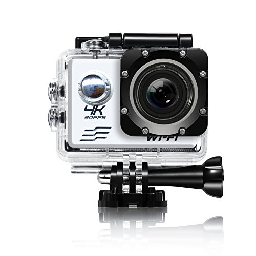 Acekool 4K WIFI Sports Action Camera Ultra HD Waterproof DV Camcorder 16MP 170 Degree Wide Angle 2 Inch LCD Screen with 2 pcs Batteries (Sliver)