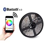 Bluetooth Smartphone App Controlled LED Strip Light Kit for Home, Club, Party, Wedding, Waterproof IP65, 32.8ft/10M, SMD5050 RGB LED Light Strip with 24V 5A Power Adapter, for iPhone Android