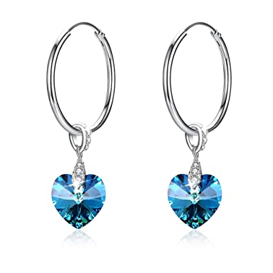 042026b5009fb4 Kalapure S925 Sterling Silver Sweet Heart Hoop Earrings & Swarovski Crystals  Love Heart Pendant, One