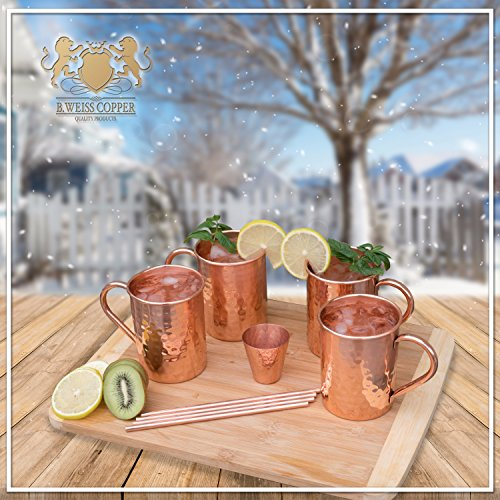 [Gift Set] 100% Real Moscow mule mugs, Set Of 4 copper cups for drinking Each Mug is HANDCRAFTED- Food Safe Pure Solid…