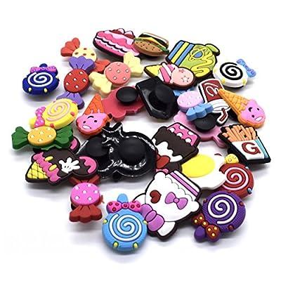 XHAOYEAHX 100Pcs Different Random Shoes Charms Decorations+2Pcs Random Color Shoe Lace Adapter +2Pcs Random Color Wristband Bracelet