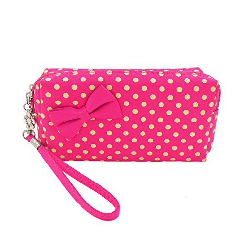 (Premium Small Polka Dot Bow Double Zip Wristlet Cosmetic Makeup Bag, Fuchsia)