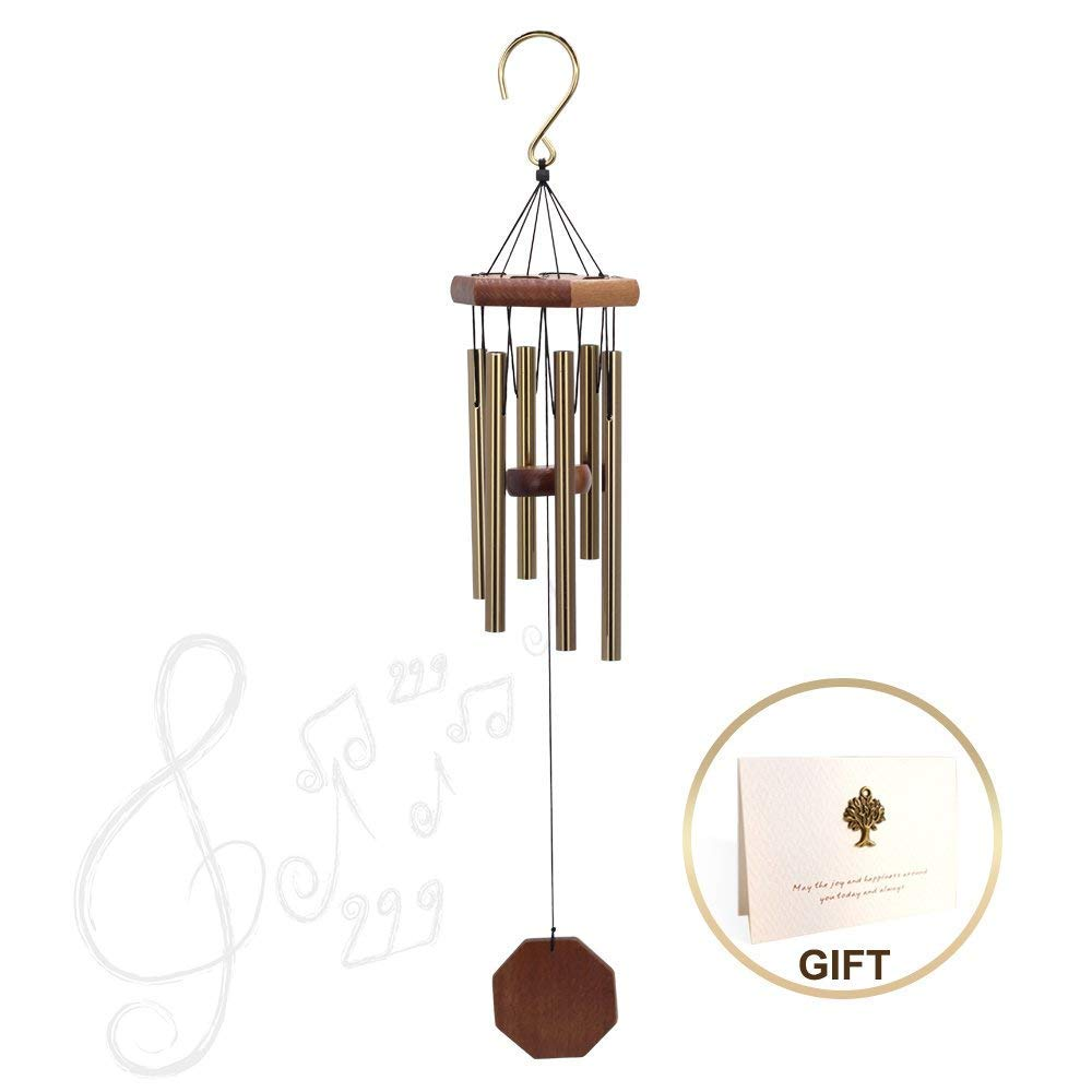 Indoor or Outdoor Wind Chimes, Metal Wind Chimes Tubes with Deep Tone, Wind Chime Amazing Grace with 6 Aluminum Tubes, Memorial Wind Chimes Personalized for Garden Decoration(25'' Total Length,Golden)