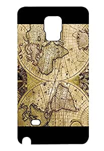 Ultra Thinshell Phone Cover Fundas Case For Samsung Galaxy Note 4 World Map Painting Phone Cover Fundas Case