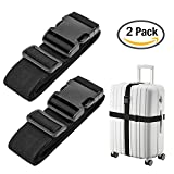 Luxebell Luggage Straps Suitcase Belt Add-A-Bag Travel Accessories, Heavy Duty Strap, 2-Pack (6.56ft, Black)