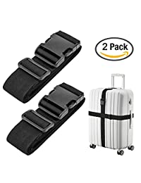 Luxebell Luggage Straps Suitcase Belt Travel Accessories, 1.96 in W x 6.56 ft L, 2-Pack (6.56ft, Black)