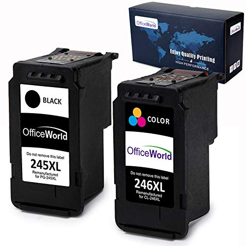 Office World Remanufactured Ink Cartridge Replacement for Canon PG-245XL 245 XL CL-246XL 246 XL for Canon Pixma MX492 MG2920 MG2520 iP2820 MG2922 MG2420 MG2522 MG3022 MG2924 (1 Black + 1 Tri-Color)