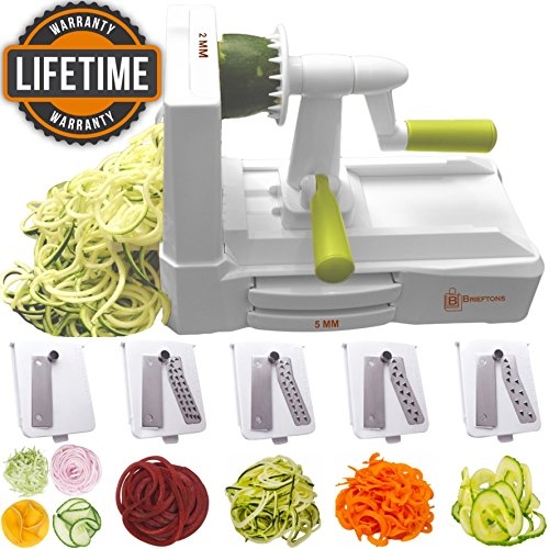 Brieftons 5-Blade Spiralizer (BR-5B-02): Strongest-and-Heaviest Duty Vegetable Spiral Slicer, Best Veggie Pasta Spaghetti Maker for Low Carb/Paleo/Gluten-Free, With Extra Blade Caddy & 3 Recipe (Spiral Maker)