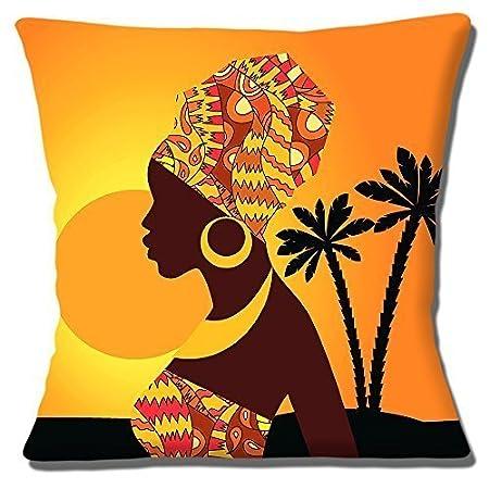 34e347f8b70c1 African Tribal Lady Orange Yellow Shades Printed - 16
