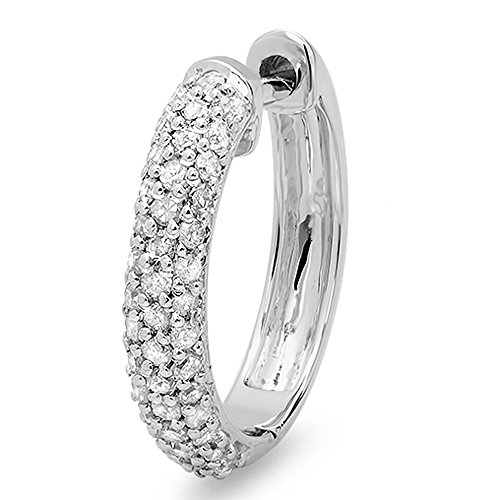 Earrings Huggie Diamond Classic - 0.25 Carat (ctw) 14K White Gold Round Diamond Ladies Huggies Hoop Earring 1/4 CT (Only 1pc)