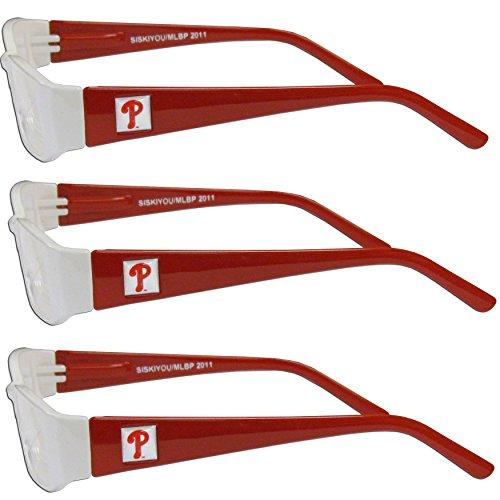 - MLB Philadelphia Phillies Adult Reading Glasses (3-Pack), Red, Reading Power: +1.25