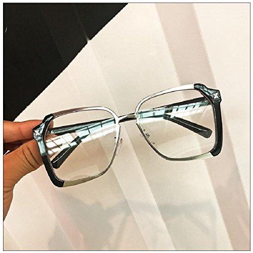 30acd51e46d sunglasses Fashion Square personality light brown big box round flat mirror  sunglasses and tide