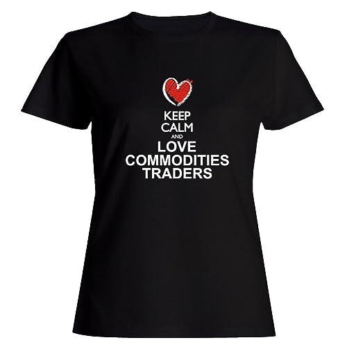 Idakoos Keep calm and love Commodities Traders chalk style Maglietta donna