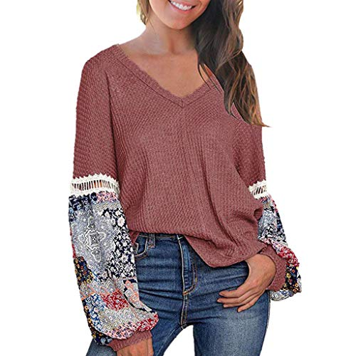 - HebeTop Women's Casual Tops Printed Long Sleeve V Neck T Shirts Loose Pullover Sweater Pink