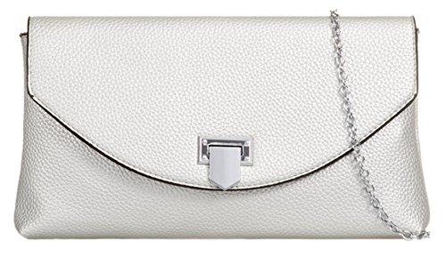 Mano Sintético Handbags Cartera De Material Girly Plata Mujer Para Caqtw