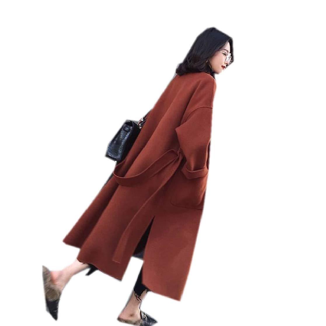 YUNY Womens Wool Thicken Longline with Belt Shawl Collar Outwear Jacket 1 S