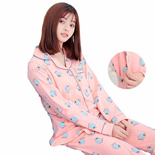 引数マージン思いやりパジャマ レディース 春夏秋 授乳服 綿 上下セット 授乳口付き ウエスト調節 長袖 大きいサイズ ゆったり 通気性良い 可愛い 産前 産後 部屋着 ルームウェア イチゴ柄 ピンク ブルー M-3XL