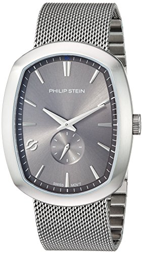 Philip Stein Men's 'Modern' Swiss Quartz Stainless Steel Casual Watch, Color:Silver-Toned (Model: 72-CPLT-MSS)
