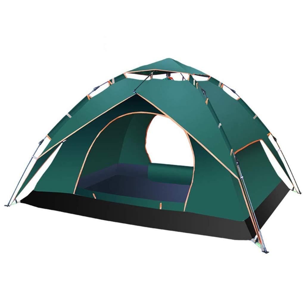 CATRP ブランド 自動 現れる テント 3-4人 防水 折りたたみ ポータブル 多機能 キャンプのテント、3色 (色 : 濃い緑色)  濃い緑色 B07P3HGN56