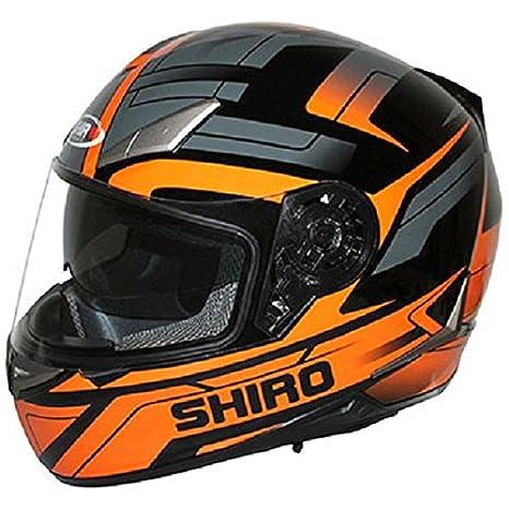 Shiro SH-715 Austin-Casco Para Moto Doble Pantalla, Color Negro y Naranja