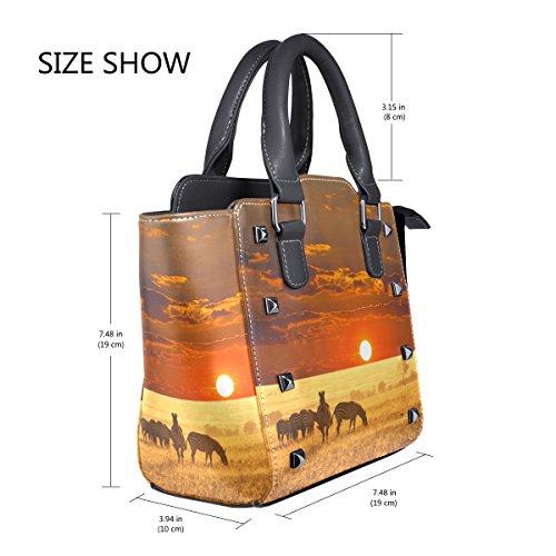 Landscape Crossbody Handle Zebra Single PU Handbags Shoulder For Bags Top Leather Messenger Women Sunset LIANCHENYI African Tote Bag fnA817qYWW