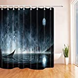 Yomyceo Halloween Shower Curtains for Bathroom, Water Ghost Skeleton Against Full Moon Terror Theme, Polyester Fabric Waterproof Bath Curtain, Shower Curtain Hooks Included, 72X72in