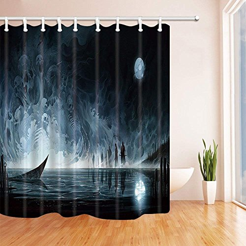 Yomyceo Halloween Shower Curtains for Bathroom, Water Ghost Skeleton Against Full Moon Terror Theme, Polyester Fabric Waterproof Bath Curtain, Shower Curtain Hooks Included, 72X72in by Yomyceo