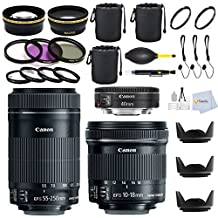 Canon Trinity Lens Kit Includes: Canon EF 40mm f/2.8 STM Lens + Canon EF-S 10-18mm f/4.5-5.6 IS STM + Canon EF-S 55-250mm F4-5.6 IS STM Lens for Canon SLR Cameras + 0.43X Wide Angle & 2.2X Telephoto Lens + 9 Pc. Filter Kit & more