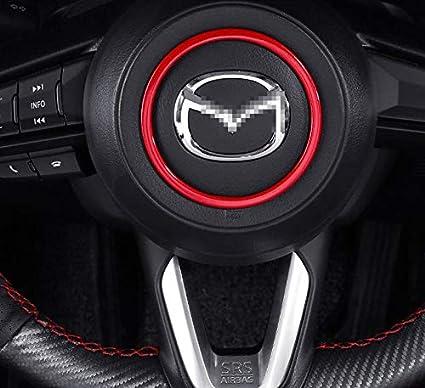 Duoles Red Sport Carbon Fiber Print Interior Steering Wheel Trim for Mazda 3 6 CX-4 CX-5 CX-9