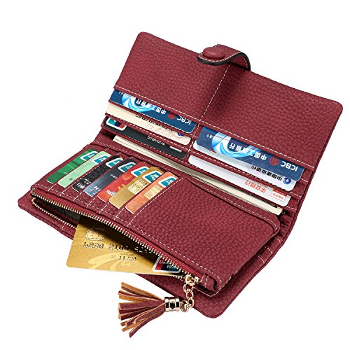 Snap Long Wallet - Realer Women Wallet Leather Trifold Card Holder Case Ladies Zipper Clutch Purse with Tassels