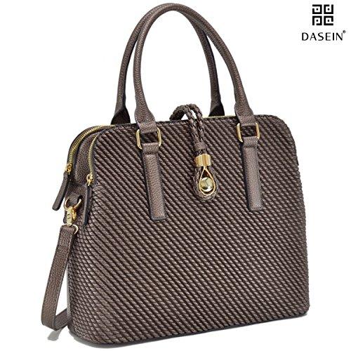 Dasein Womens Structured Shoulder Bag Fashion Satchel Bag Top Handle Handbag Designer Briefcase