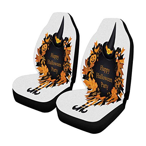 INTERESTPRINT Halloween Wreath Fall Ribbon Pumpkin Candy Spider Web Witch Legs Auto Seat Protector 2 Pack, Entire Seat Protection, Car Front Seat Cushion for Pets Running Gym ()